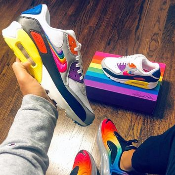 """Nike Air Max 90 """"BeTrue"""" rainbow color block half palm cushioned sneakers shoes"""