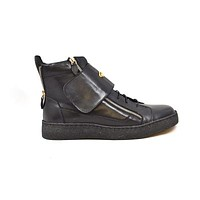 British Walkers Empire Men's Black Leather Crepe Sole High Tops