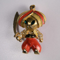 Vintage Brooch, Colorful Warrior in a Turban, Figural, Book Piece