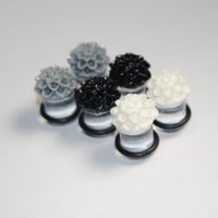 Chrysanthemum 00g (10mm) Acrylic Plugs, Ear Gauges, Unisex, Formal, Stretched Ears, Dahlia, Floral, Flower, Plugs for Girls, CHOOSE COLOR