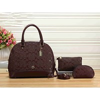 Coach Trending Women Stylish Shopping Bag Leather Shoulder Bag Tote Handbag Wallet Three Piece Set Coffee I-KSPJ-BBDL