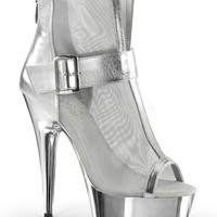 Silver 6 Inch Heel Peep Toe Ankle Boots Stripper Shoes