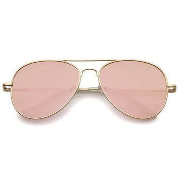 Small Matte Metal Rose Gold Pink Mirror Flat Lens Aviator Sunglasses 56mm