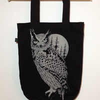 OWL bag- owl full moon printed cotton bag. Screenprint on high quality tote bag , original handmade design. Gift for her. Twin peaks lovers.