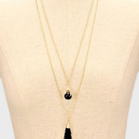 Double Gold Chain Black Tassel and Black Drop Necklace