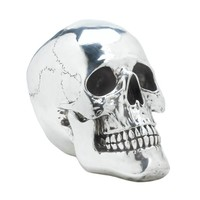Smiling Silvery Skull Halloween Decor