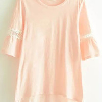 Pink Lace Half Sleeve T-Shirt