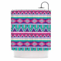 "Sarah Oelerich ""Teal Tribal"" Pink Purple Shower Curtain"