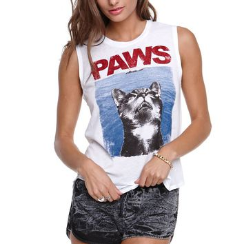 Riot Society Paws Muscle T-Shirt - Womens Tee - White -