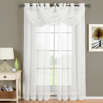 Abri White Grommet Crushed Sheer Curtain Panel