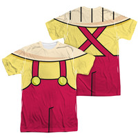FAMILY GUY STEWIE COSTUME Short Sleeve T-Shirt 100% Polyester 1 or 2 Sided