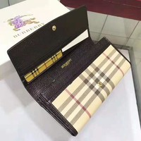 BURBERRY High Quality Classic Stylish Women Cowhide Buckle Wallet Purse