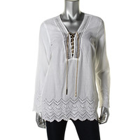 MICHAEL Michael Kors Womens Eyelet Chain Detail Pullover Top