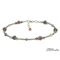 Shimmer Tanzanite Mauve Crystal Beaded Anklet