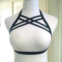 new  Double X under bust harness bra Kinky BDSM Inspired Soft Bondage Black Body Harness Cage Lingerie retail