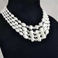 4 Strand White Glass Necklace Choker - Geometric Beads - Vintage Costume Milk Glass Necklace - Japan