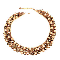 Kramer Pearls & Crystals Choker Necklace, Golden Faux Pearls, Amber Crystals, Vintage Bridal Necklace, Wedding Jewelry,Special Occasion
