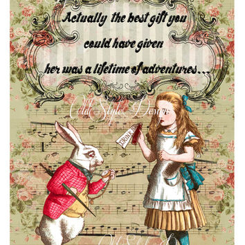 ALICE in Wonderland Quote Art Print. Shabby Chic Decor. Vintage Style Alice Wall Art. Altered Book Illustration.Tea Party. Gift.  Code:A020