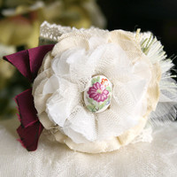 Vintage Blossom Cuff Bracelet - Cream, Ivory, Magenta Pink and Green