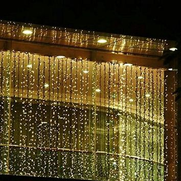 Outop® 300led Window Curtain Icicle Lights String Fairy Light Wedding Party Home Garden Decorations 3m*3m (Warm White)