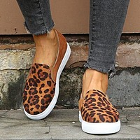 New style cotton shoes deep mouth overshoes flat shoes single shoes leopard brown
