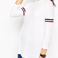 ASOS Slouchy Rib Top With Stripe Sleeve at asos.com