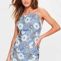 Missguided - Blue Strappy Floral Jaquard Bodycon Dress