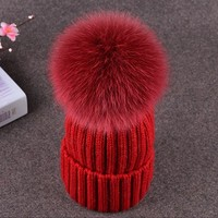 Winter Baby Boys Girls Fur Pompom Hats Wool Knitted Caps For Kids Baby Skullies & Beanies Knit Cap hat Bonnet Accessory