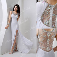 Scoop Neck Sheath Sexy White Dress Long Party Prom Cocktail Military Ball Gown Wedding