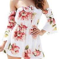 Fashion floral sexy tight strapless beach suit loose jumpsuit