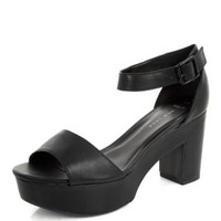 Wide Fit Black Chunky Ankle Strap Heels