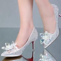 Pointed Toe High Heels Cinderella glass slipper pointed heels Red bottom Women Pumps Leather diamond wedding shoes