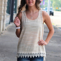 Crochet Trim Basic Tank {Tan}