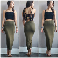 A Bodycon Pencil Skirt in Army Green