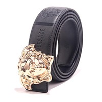 VERSACE Trending Women Men Smooth Buckle Leather Belt Black
