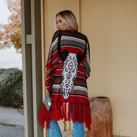 Bohemian Bullhead Sweater Shawl - Red