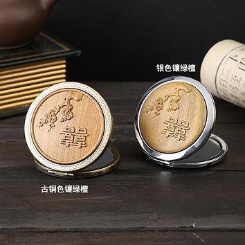 Green Sandalwood Carved Round Mirror Portable Makeup Mirror Retro Gift Hand Antique Small Mirror Portable Folding Mirror
