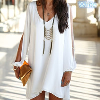 fashion V collar chiffon long sleeved loose A word dress 4 size(S-XL)4 color Plus Size [7653198662]