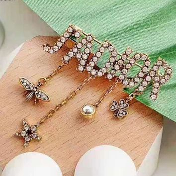 DIOR fashion casual lady brooch sells well with diamond tassel brooch