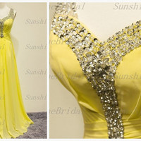 Real A-line Straps Sleeveless Floor-length Chiffon Beading Yellow Long Bridesmaid Dresses Prom Dresses Evening Dresses 2014 New Arrival
