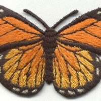 BUTTERFLY BLACK and ORANGE Monarch butterfly Applique Iron or Sew On patch by Cedar Creek patch Shop on Etsy