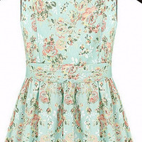 Light Green Vintage Floral Print Cut-Out Strap Pleated Mini Dress