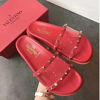 VALENTINO Transparent stitching rivet slippers