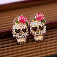 Gold Plated Crystal Rhinestone Rose Heart Skull Stud Earrings For Women Romantic Jewelry