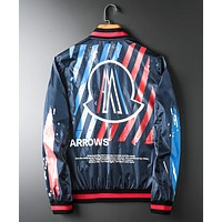 Moncler autumn new men's heavy industry printed zipper jacket