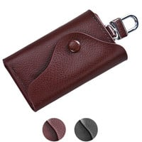 Men Leather Wallet Car Key Chain Holder 6 Ring Pouch Case Luxury Key Wallets Gifts CF