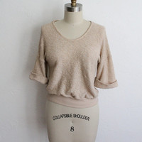 Vintage 70s Tan Terry Cloth Short Sleeve Sweater Top // Women's Knit Shirt