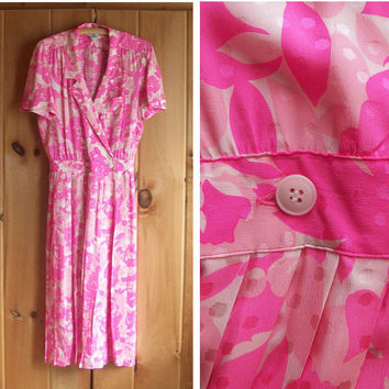 Vintage dress   Pink silk flowered wrap dress with pleated skirt