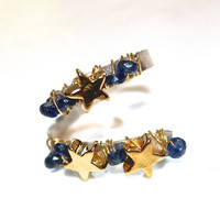 Gold Star Ring Stackable Ring Dainty Ring Tiny Star Ring Sapphire Ring Silver Ring Adjustable Ring Sapphire Jewelry Celestial Jewelry