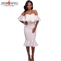 SEBOWEL White Pink Backless Ruffle Off Shoulder Mermaid Woman Dress Party Bodycon Dresses Summer 2018 Female Cocktail Clothing